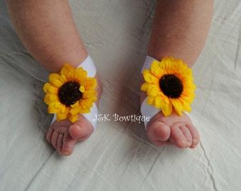 Sunflower Baby Barefoot Sandals Pair....Newborn Barefoot Sandals..Newborn Baby Photo Prop, Baby Crib shoes, Baby girl accessories