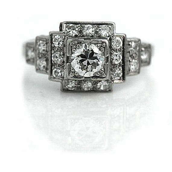 Art Deco Engagement Ring Vintage Diamond Ring Antique Platinum .81ctw Old European Cut Estate Engagement Ring Art Deco Filigree Ring!