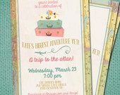 Travel Bridal Shower Printable Invitation 5x7 or 4x6, Pink Gold Teal, Custom Airplane Suitcases Card