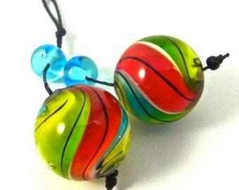 Marbles - bead pair for earrings - Handmade Lampwork Bead Set (4) by Anne Schelling, SRA