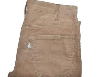 ON SALE Vintage Circa 1980 Beige LEVI'S Levis 519 Straight Leg Thick Corduroy Jeans 30 x 31 Talon 42 Zipper