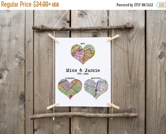 Sale 25 Off Personalized Map Art Heart Print By