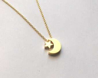 Golden Tiny Star and Moon Necklace, Crescent Moon Sky Lover Pendant, Small Charm, Golden on delicate Chain