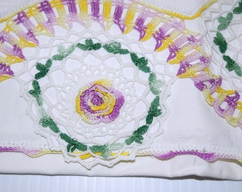 Pair Crocheted  Pillowcases Irish Crochet Roses Mauve Yellow Green Cotton Vintage