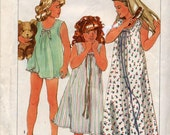Vintage Girls' Easy-to-Sew Nightgown in Two Lenghs and Baby Dolls Sewing Pattern - Simplicity 6921 - Size Medium (8-10)