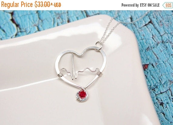 Custom Heartbeat Inside Hammered Heart with One Red Crystal, Argentium Sterling Silver