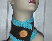 Handmade boho-chic Neck cowl AQUA & COFFEE BROWN Crocheted rustic fall women's accessory Neck warmer wrap scarf with Large Wood button