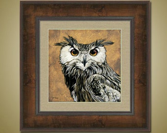 PRINT or GICLEE Reproduction -- Owl Artwork, Brown Painting, Owl Face Closeup, Animal Art -- Through Wisdom's Eyes