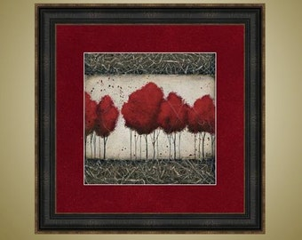 PRINT or GICLEE Reproduction -- Red Tree Art, Absract Tree, Limited Edition Signed Print -- Roots Run Deep