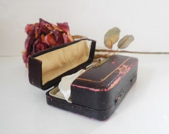 Antique Leather Presentation Box Of High School Memorabilia Ribbons Pin Back Button 1920's