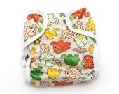 One Size PUL Cloth Diaper Cover Earth Tone Elephants