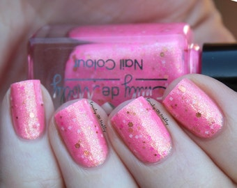 """Nail polish - """"Smiling Fortune""""  neon pink with strong gold shimmer and glitters"""