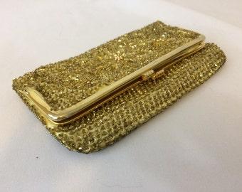 Vintage Hand Beaded Gold Foldover Clutch //Vintage Evening Bag 1950's Hong Kong
