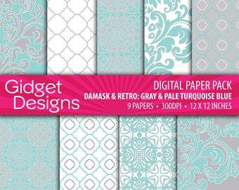 Pale Turquoise Blue and Gray Digital Paper Pack Blue Damask Quatrefoil Scrapbook Patterns Instant Download Printable DIY Wedding Stationery