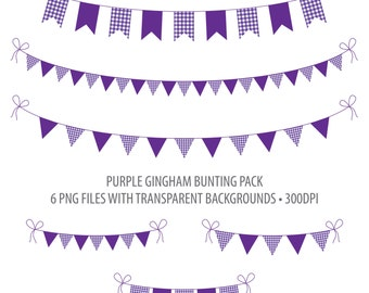 Purple Bunting Clip Art Dark Purple Gingham Instant Download Printable Bunting Purple Gingham Flag Bunting Penant Bunting