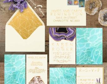 Wedding Invitation Suite: SAMPLE (Rocks, Minerals, Gems, Quarry, Water, Agate, Crystal, Gold, River, Lake)