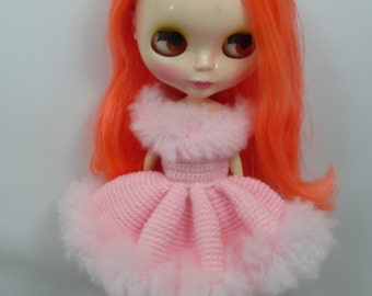 Handcrafted crochet knitting dress outfit clothes for Blythe doll # 200-21