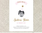 Birthday Party Hat Photo Invitation Prints - Reserved Listing for Mia