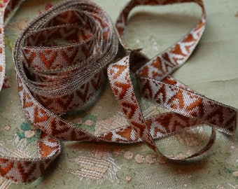 """1/2 yard Antique French metal woven ribbon trim deco brown silver 9/16""""  flapper doll purse applique small intricate projects wire gold"""