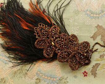 Antique flapper feather edwardian hat trim copper black orange  downton abbey flowers glass bead piece pink silver