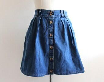 Vintage High Waisted Denim Skirt Small