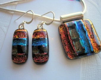 Dichroic Glass Jewelry Set Black, Blue, Orange Fused Glass Pendant and Earrings Dichroic Glass Jewelry Iridescent Pierced Dangle Earrings