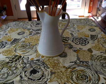 TCS1516E   Lovely Square Table Cloth in Yellow and Gray, Tablecloth, Square Table Cloth, Small Tablecloth, Table Linens, Floral Table Cloth,