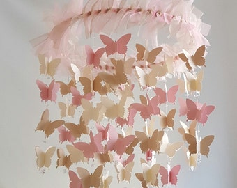 MADE to ORDER Pink Tan Cream Butterfly Mobile Butterfly Nursery Baby Mobile Photography Prop CHOOSE your color(s)