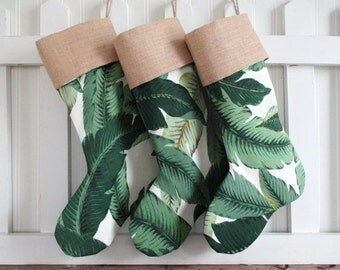 Stocking Christmas at the Beach Tropical Banana Leaf Burlap or Red Velvet or Gold Velvet Cuff Swaying Palms