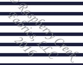 Navy Blue and White Stripe 4 Way Stretch FRENCH TERRY Knit Fabric, Club Fabrics