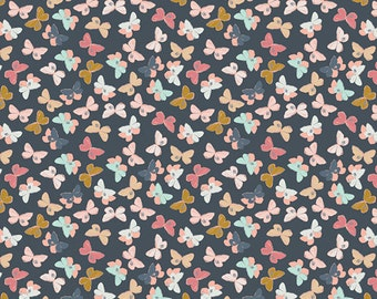 Charcoal Coral Aqua and Mustard Butterfly Jersey Knit, Nightfall by Maureen Cracknell For Art Gallery Fabric, Mothlike Shadows Deep, 1 Yard