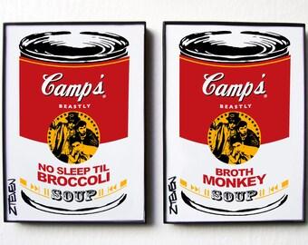 The Beastie Boys, framed original set Pop Art Soup Cans, by Zteven