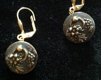 1800s Brass Picture Button Earrings with Floral Design
