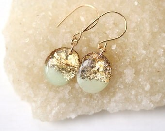 mint and gold leaf and glitter oval drop earrings on 14 karat gold fill ear wires