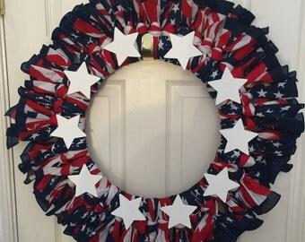 Patriotic Scarf Wreath - 18 inches