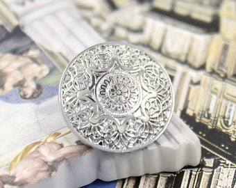 Metal Buttons - Medieval Mandala Metal Buttons , Silver Color , Shank , 0.79 inch , 10 pcs