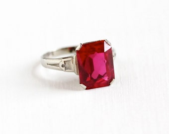 Sale - Vintage 10k White Gold Art Deco Created Ruby Ring - 1930s Size 4 1/2 Large Emerald Cut Red Pink Stone July Birthstone Fine Jewelry