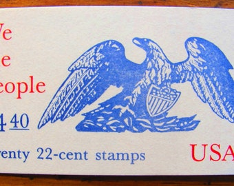 We the People Booklet of 20 Vintage UNused US Postage Stamps 22c 1987 Drafting of the Constitution Politics Election Democrat Save the Date