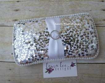 Silver Sequins on White Travel Baby Wipe Case, Diaper Wipe Case, Wipe Holder, Baby Shower Gift, Diaper Bag Wipe Clutch, Elegant Wipecase