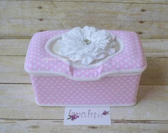 Pink and White Polka Dot Flip Top Nursery Baby Wipe Case, Large Wipecase, Nursery Decor, Pop Top Diaper Wipes Case, Wipe Holder, Wipes Tub
