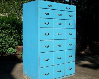 Vintage 20 Drawer Painted Wood Cabinet / Storage Organization / Handmade Homemade / Distressed Rustic / Tool Storage / Garage Cabinet