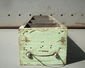 Vintage Painted Divided Wood Drawer with Wire Pull / Distressed Wood Drawer / Small Hardware Store Drawer / Grey and Green / Organizer