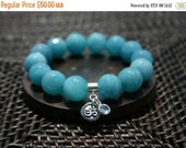 Final Sale Aquamarine and Om Energy Bracelet