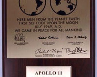 1st American Apollo Lunar Moon Landing Plaque Mounted on Wood NASA Space Replica of One Left on the Moon