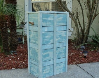 Tall Wooden Crate, Beach-y Box, Storage Chest, Beach House Furniture, Laundry, Garbage Bin