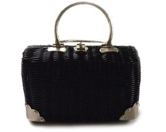Classic Vintage Black Wicker Rattan Purse Bag Handbag Circa 1950s Hong Kong B.F.