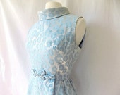 1960s Damask Dress in Blue from B. Altman & Co