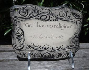 Powerful Mahatma Gandhi Quote Ceramic Plaque