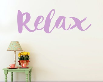 Yoga Wall Decal Relax Sign: Motivational and Inspirational Relax Vinyl Decal for Your Home or Studio (0176a8v-r3)