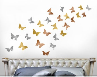 Gold Bedroom Decor Wall Decals - Realistic Silhouette Butterfly Decals in Metallic Gold, Silver, Copper, Butterfly Wall Decor (0171d91v-r3c)